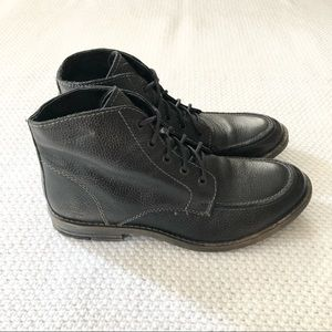Bed Stu Black Grey Pebbled Leather Contrast Stitch Lace Up Ankle Boot 10.5